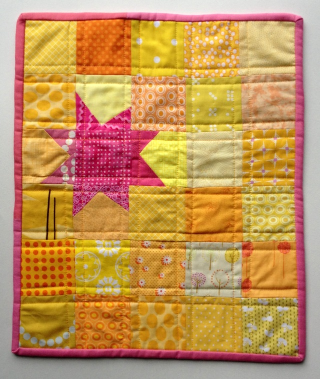 pink yellow star doll quilt