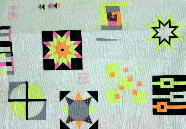 neon challenge quilt detail