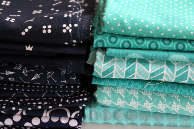 navy turquoise fabric bundle