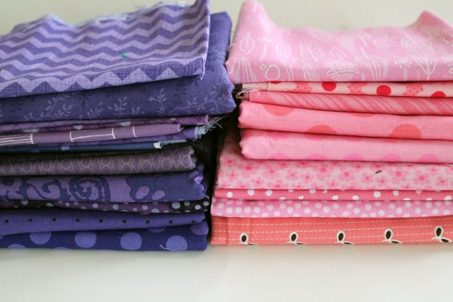pink purple fabric bundles
