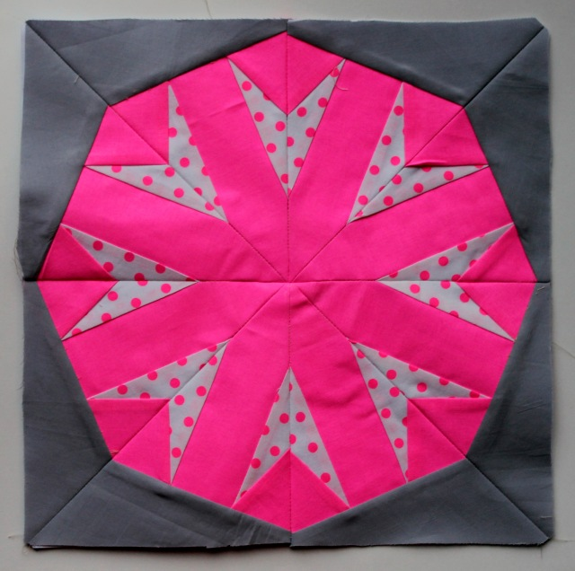 paper pieced neon block