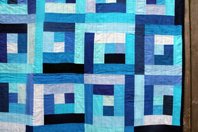 finished baby blue quilt detail