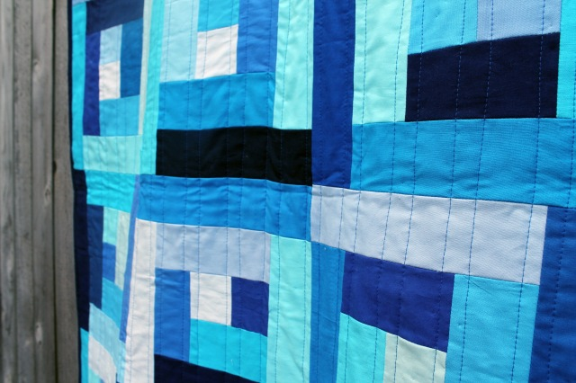 finished baby blue quilting detail