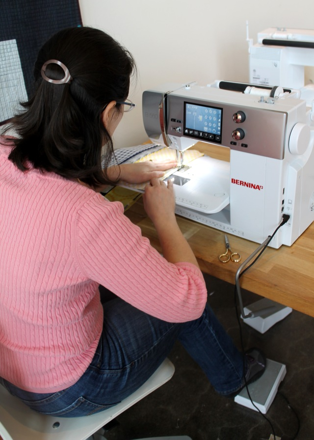 Michelle sewing away