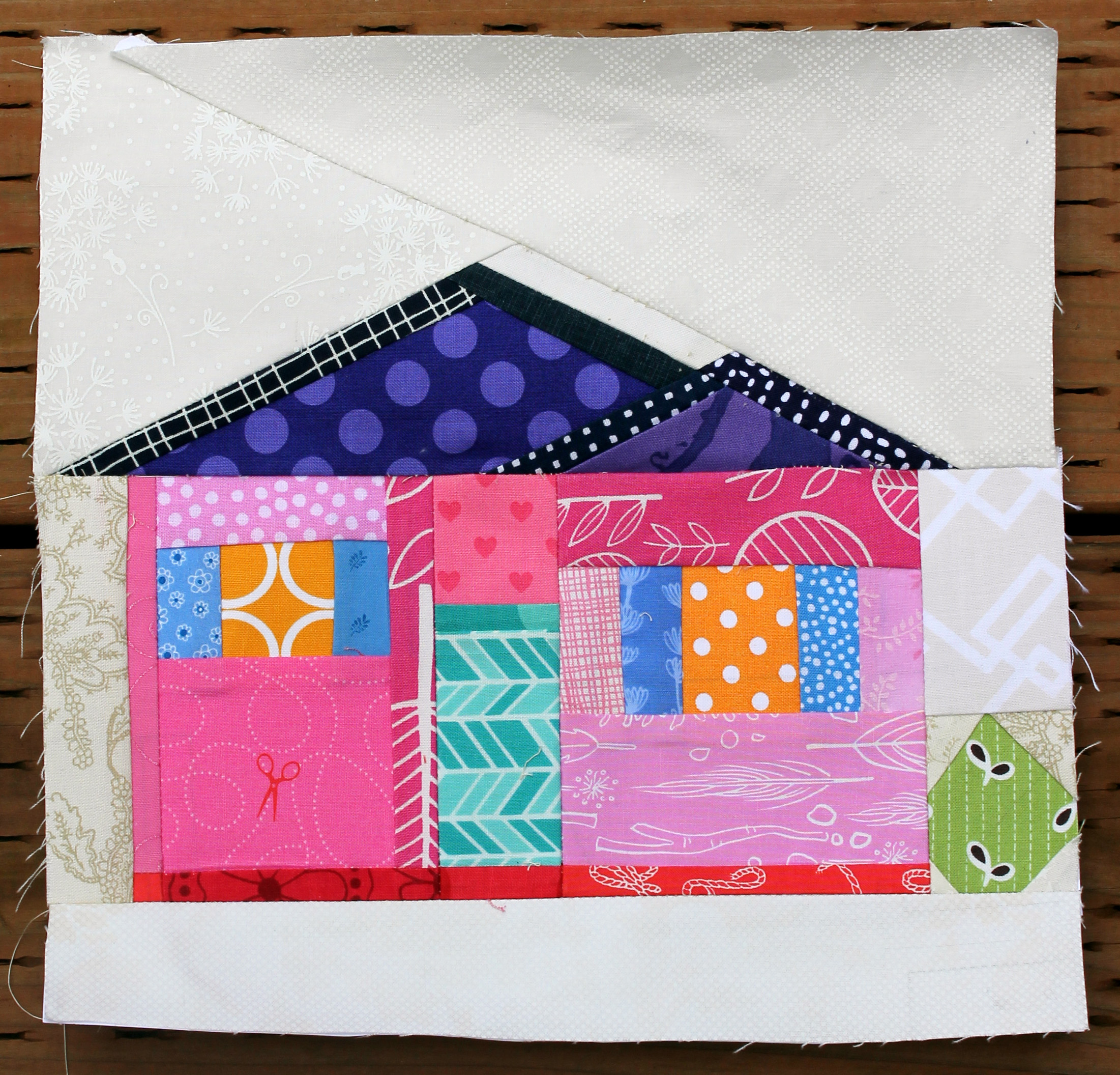 Wq house block 2 for Modern house quilt block