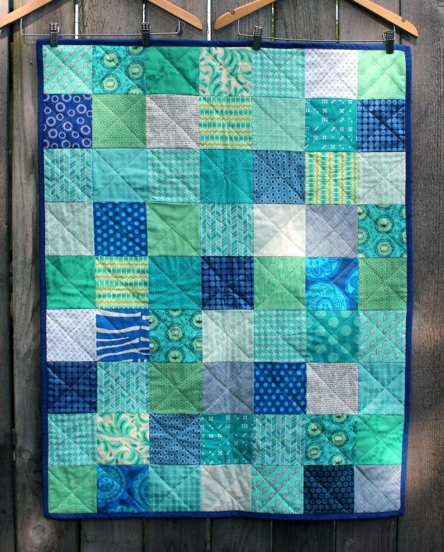 simple blue aqua baby quilt