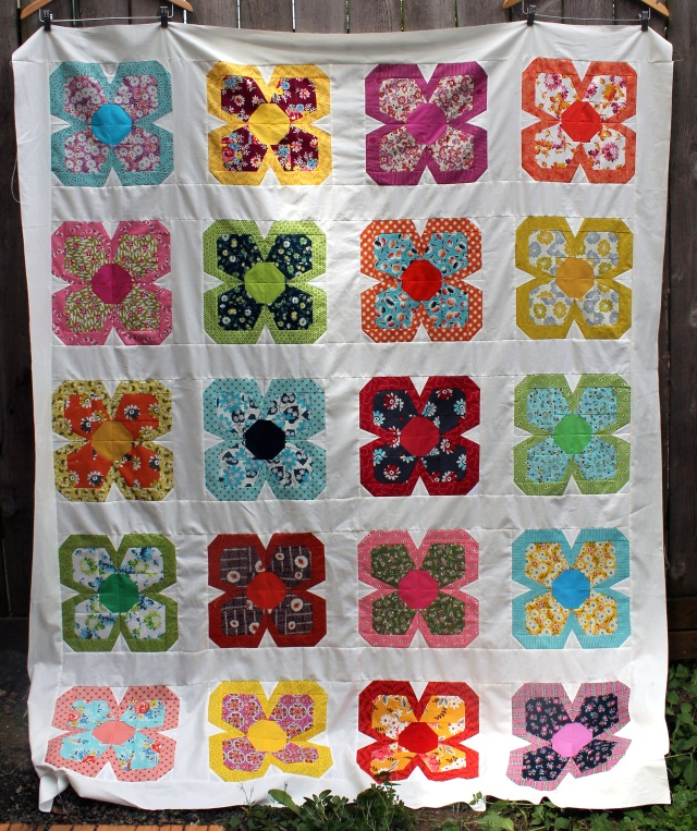 zakka flower quilt top