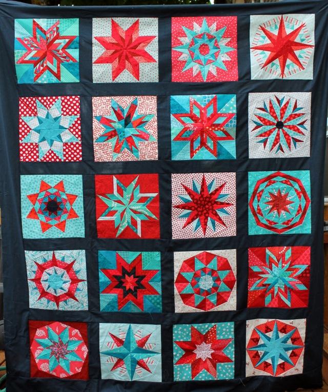 paper pieced star quilt top
