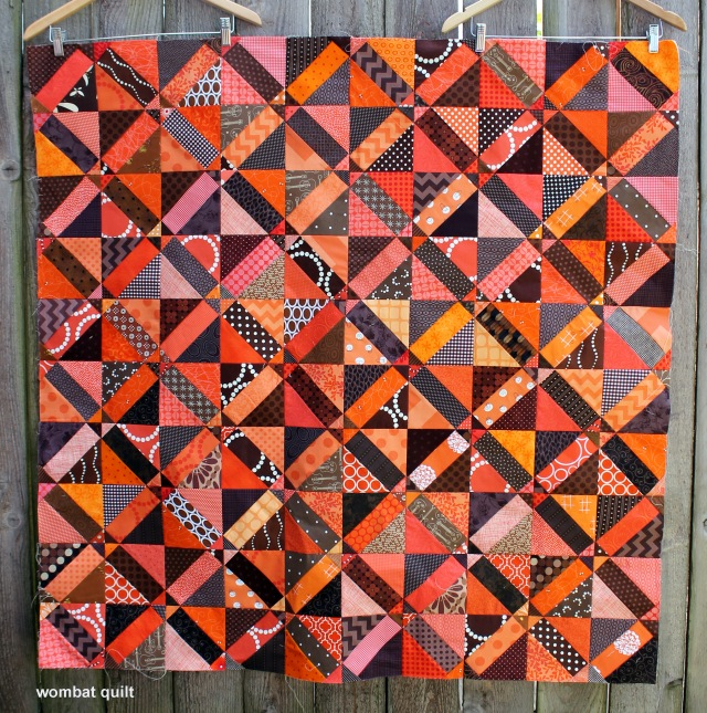 finsihed choc orange quilt top
