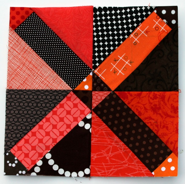 brown orange scrap quilt