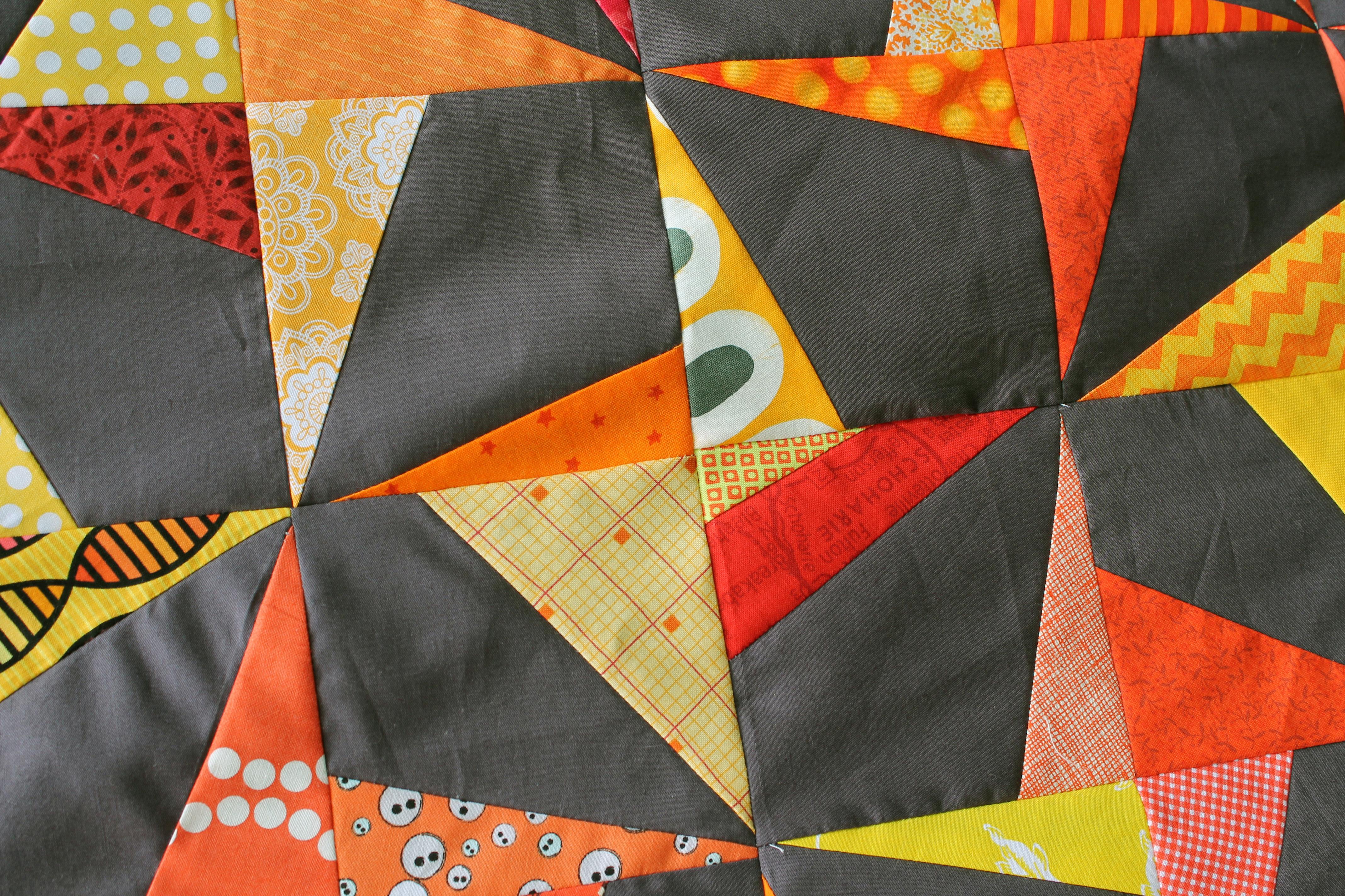 wonky pinwheel block close up