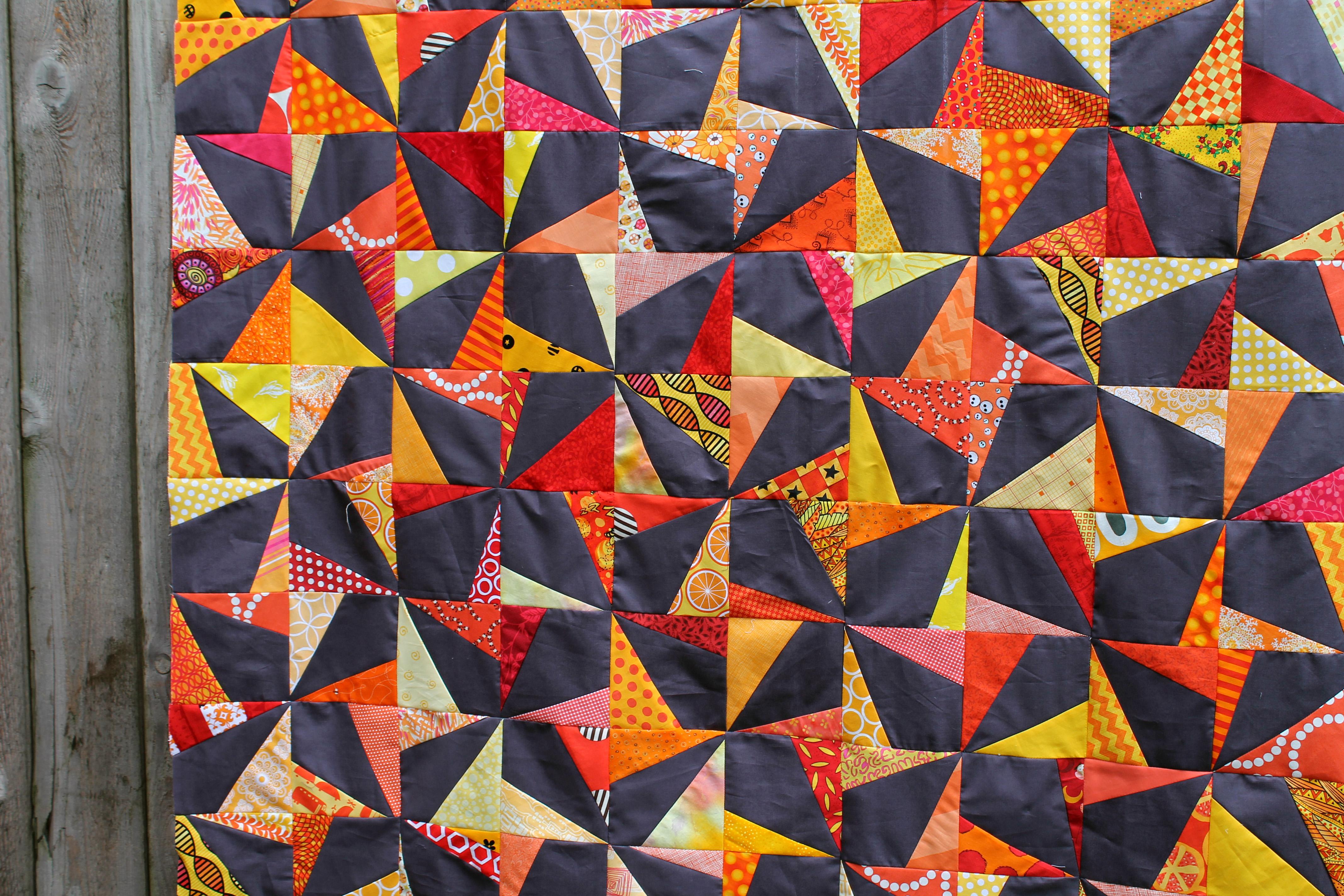 wonky pinwheel quilt top close up