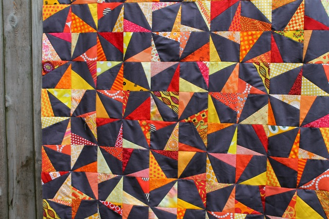 wonky pinwheel quilt top close up