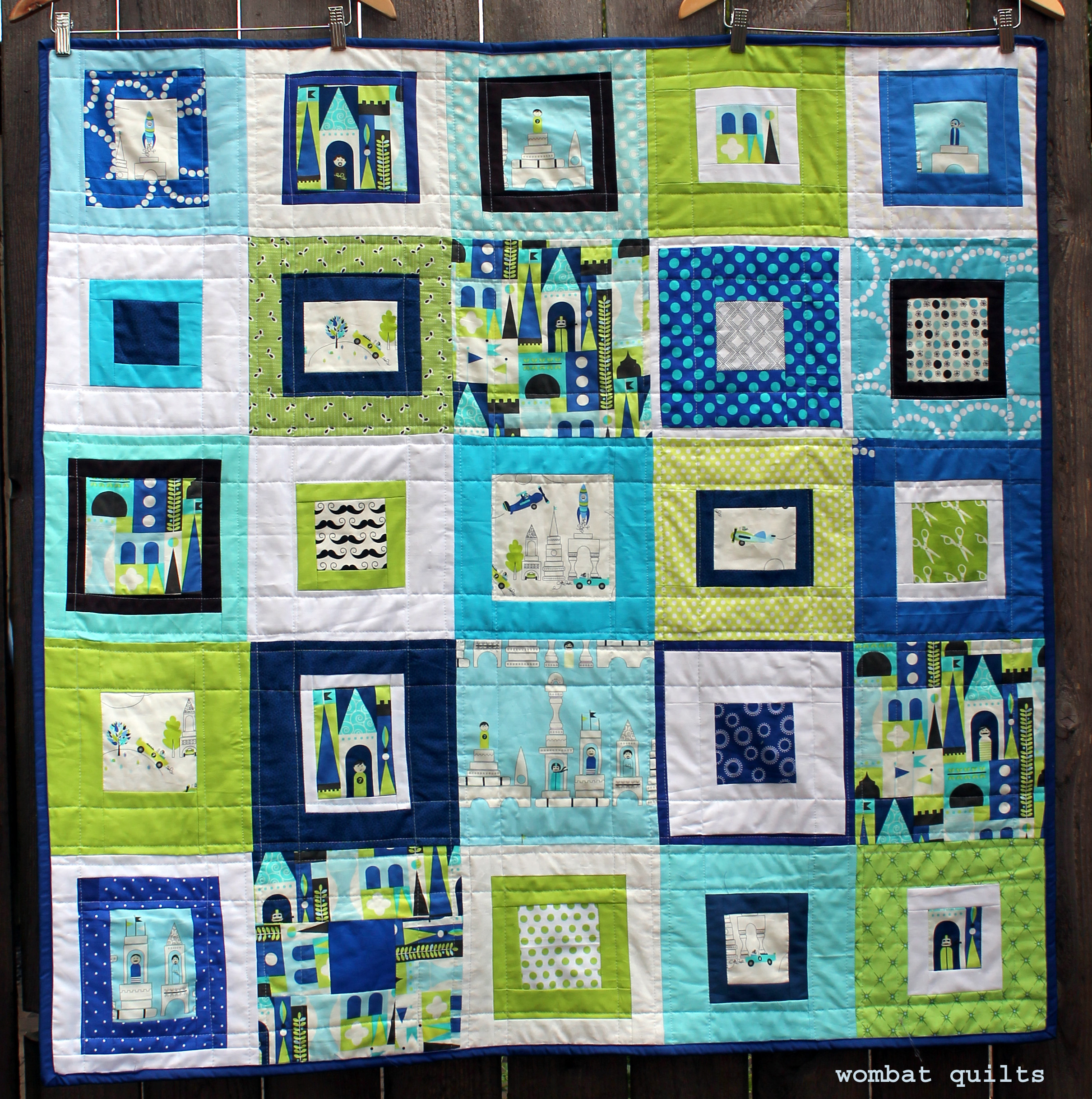 Cut a back for your quilt the same size as the top of your quilt. Cut the batting for your quilt the same size as the top and back. Place the batting on the table first. Then place the back of the quilt with the pretty side up. Then place the top of the quilt with the pretty side down.
