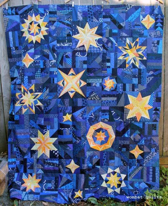 Starry night quilt top