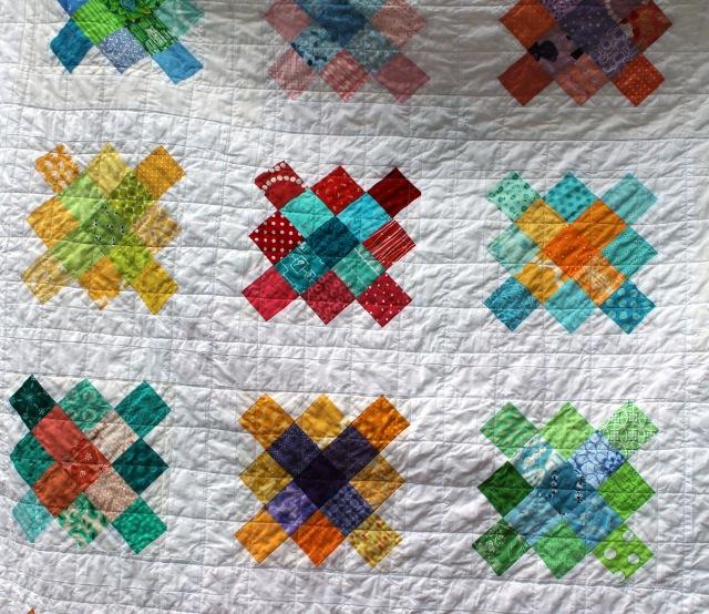 granny square quilt detail