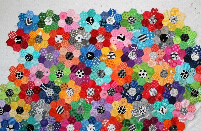 hexagon quilt wip 2