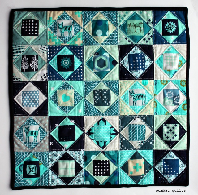 mini paper pieced quilt cotton and steel