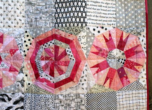 pink snowball quilt detail 2