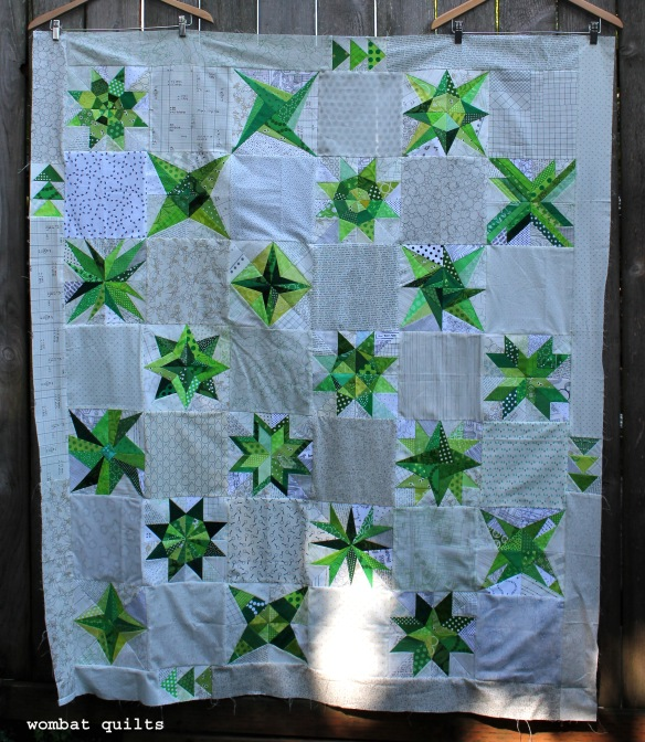 finished green star quilt top