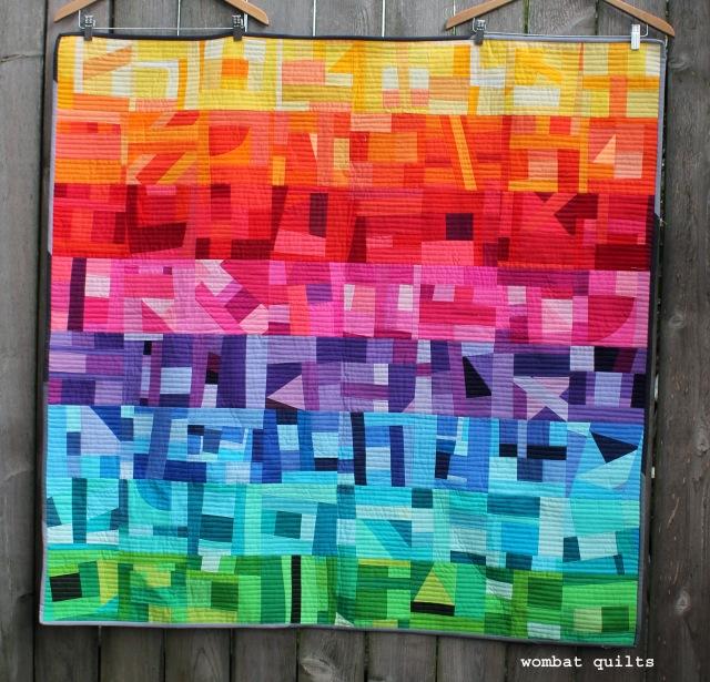 rainbow improv quilt