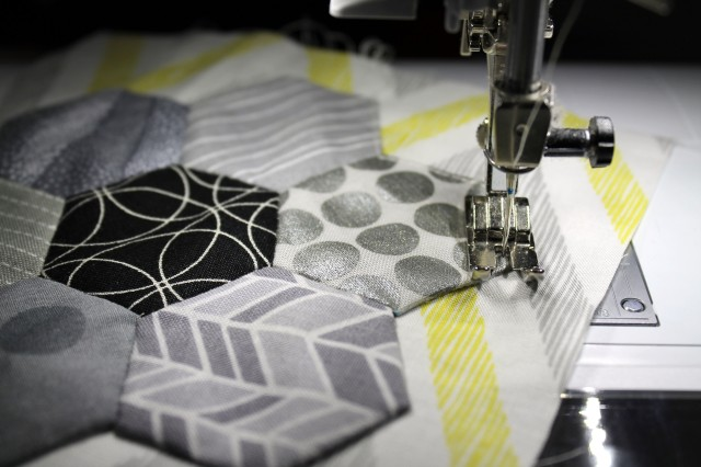 sewing down hexagon