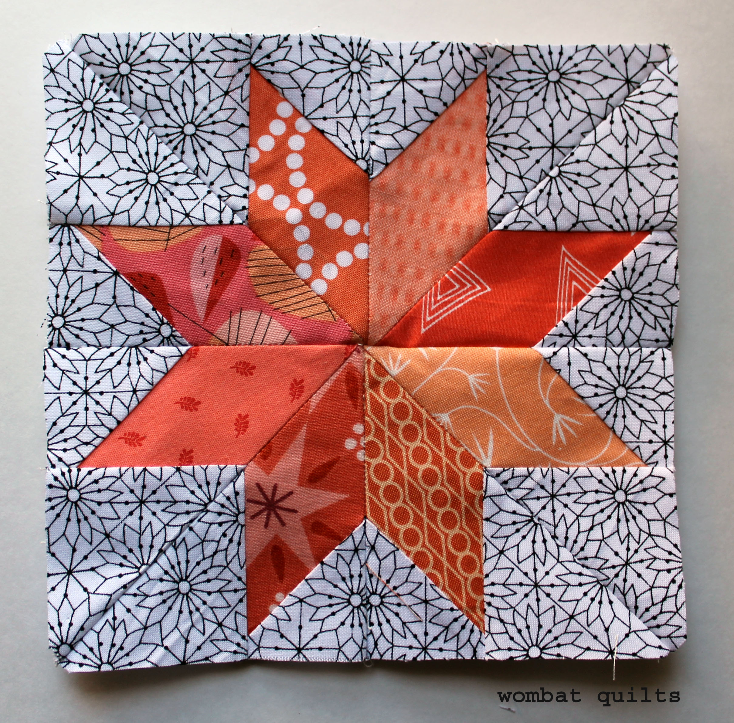 Star quilt block wombat quilts page