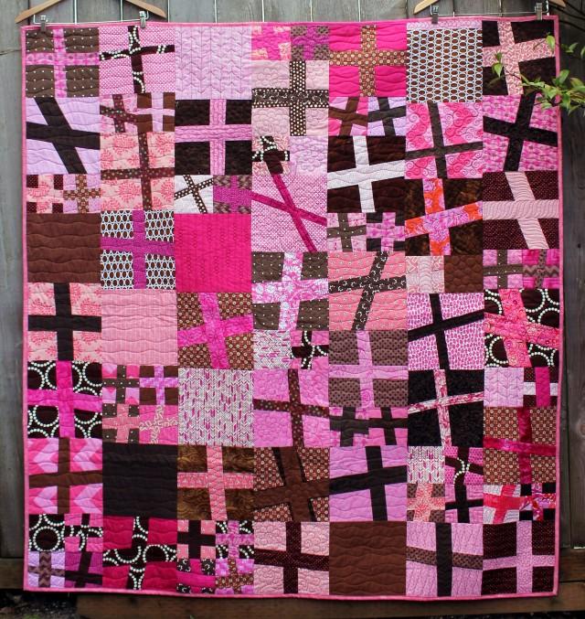 pink cross quilt