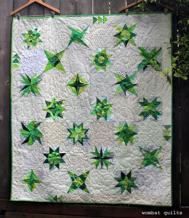 finished green star quilt