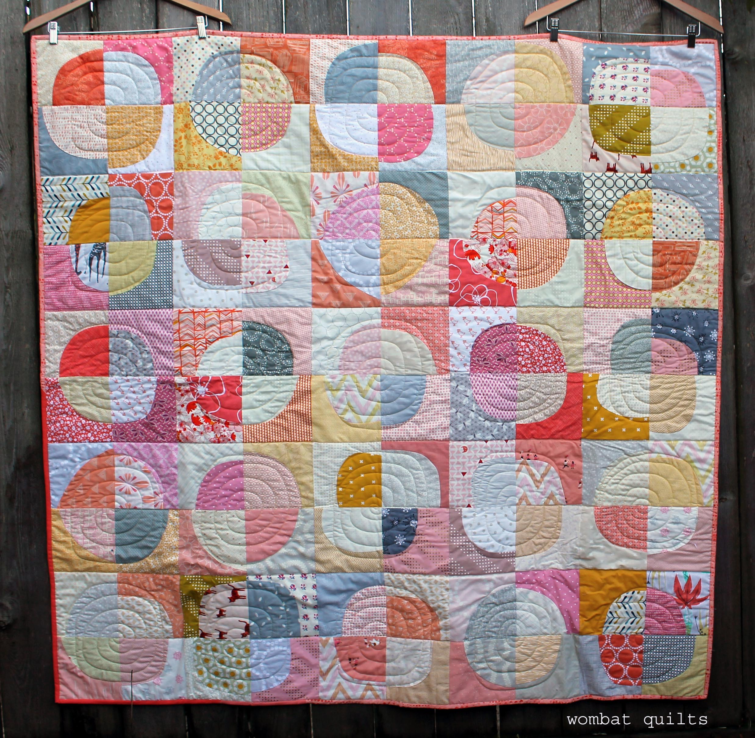 modern wonky curved quilt