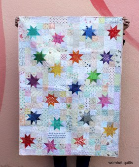 finished small wonky star quilt