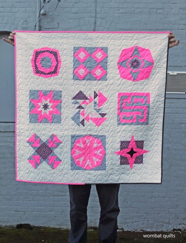 neon pink quilt