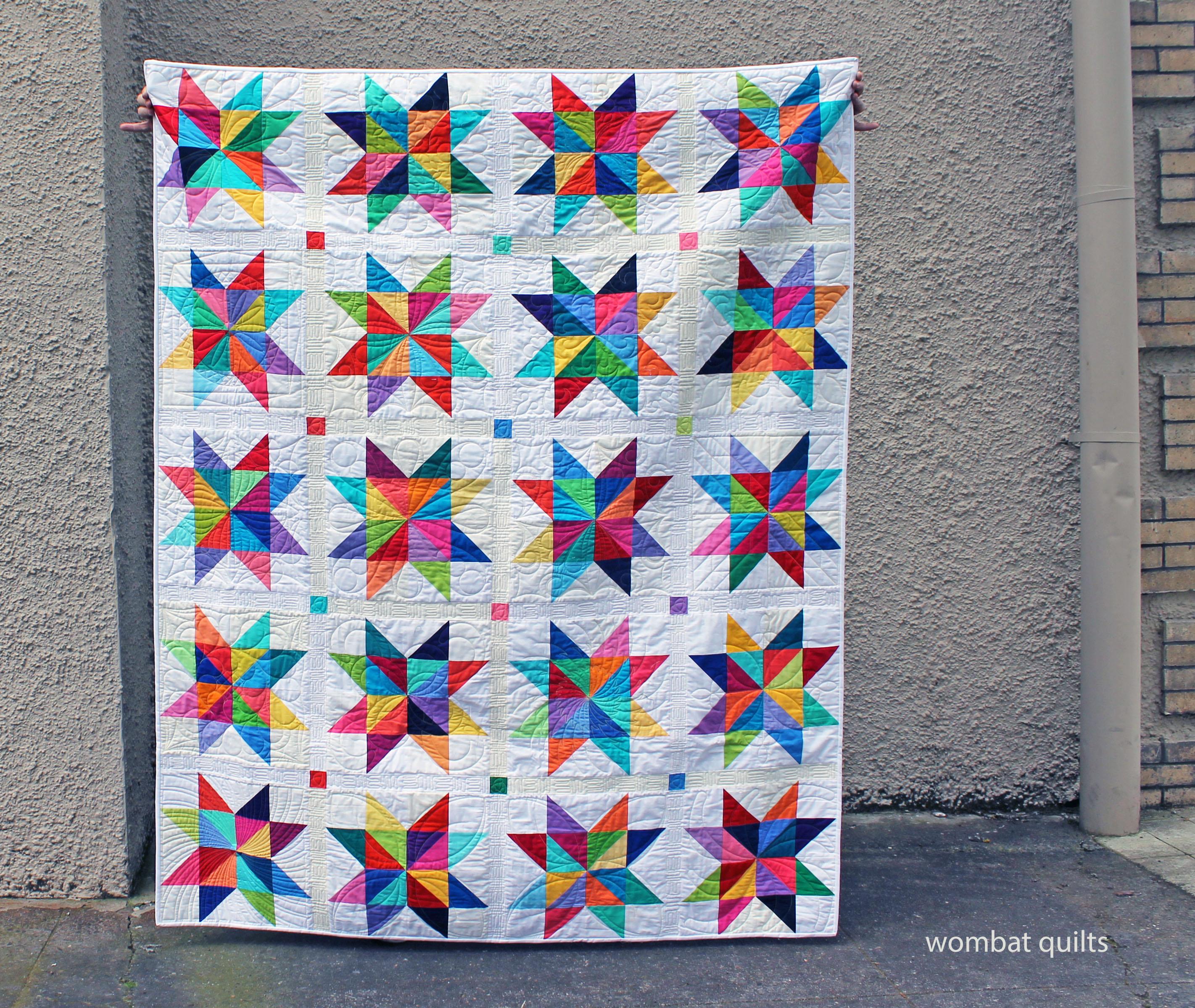 Solids star quilt modern bright
