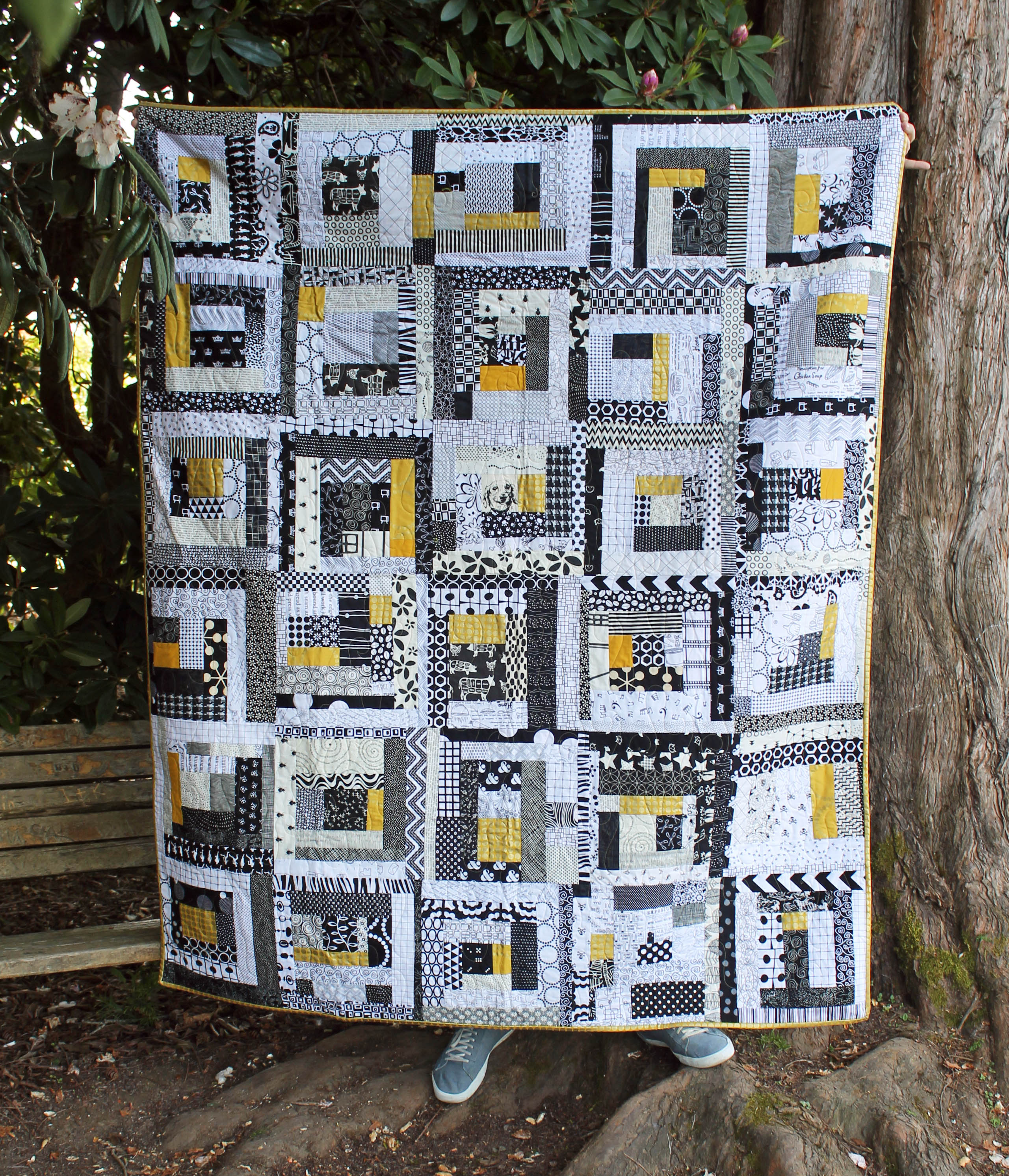 golden improv quilt
