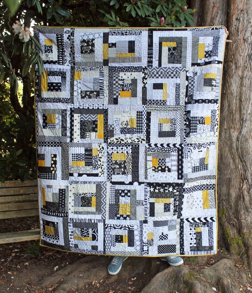 Modern scrap improv quilt