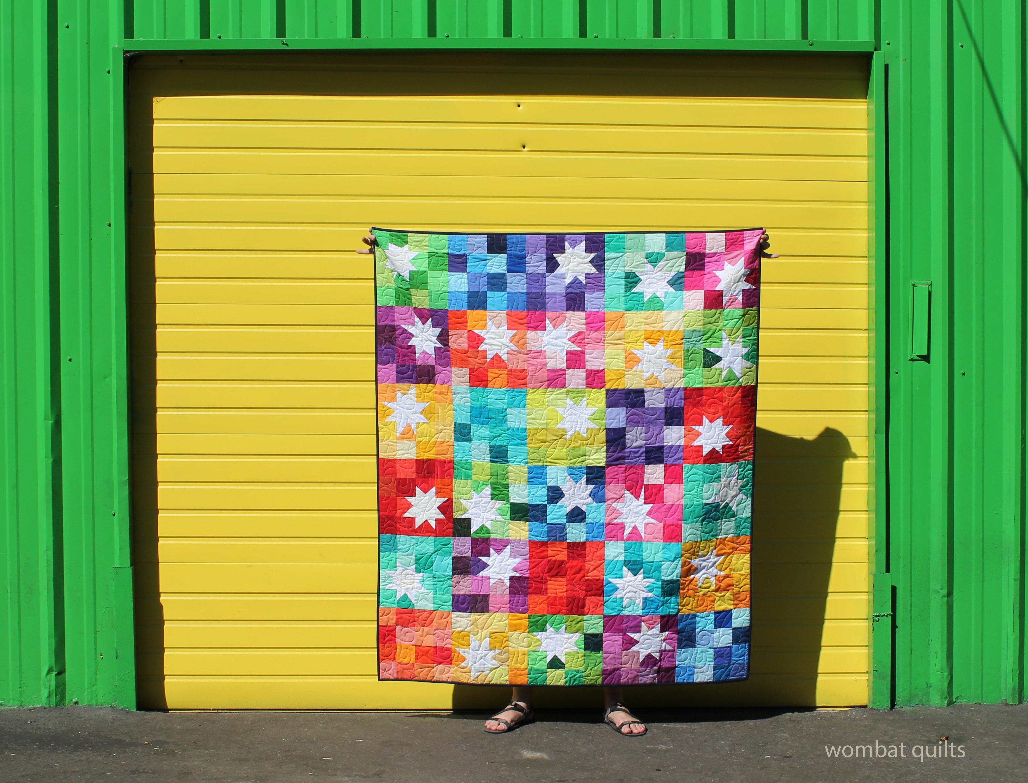 solid wonky star. Modern quilt.  Quilt bee block. Scrap quilt.